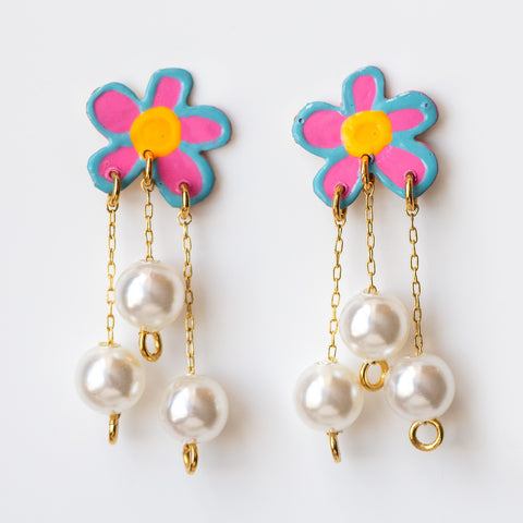 Pretty Posey Earrings unique statement dangle pearl earrings floral jewelry