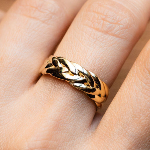 French Braid Inspired Yellow Gold Funky Minimal Ring Shashi