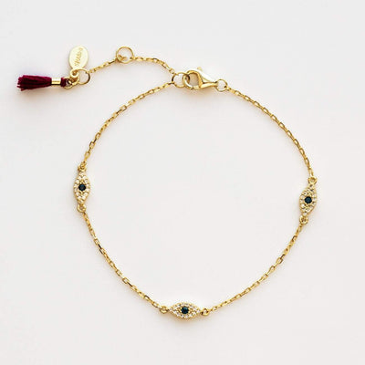 Eye Bracelet Tassel Yellow Gold Modern Minimal Jewelry Shashi