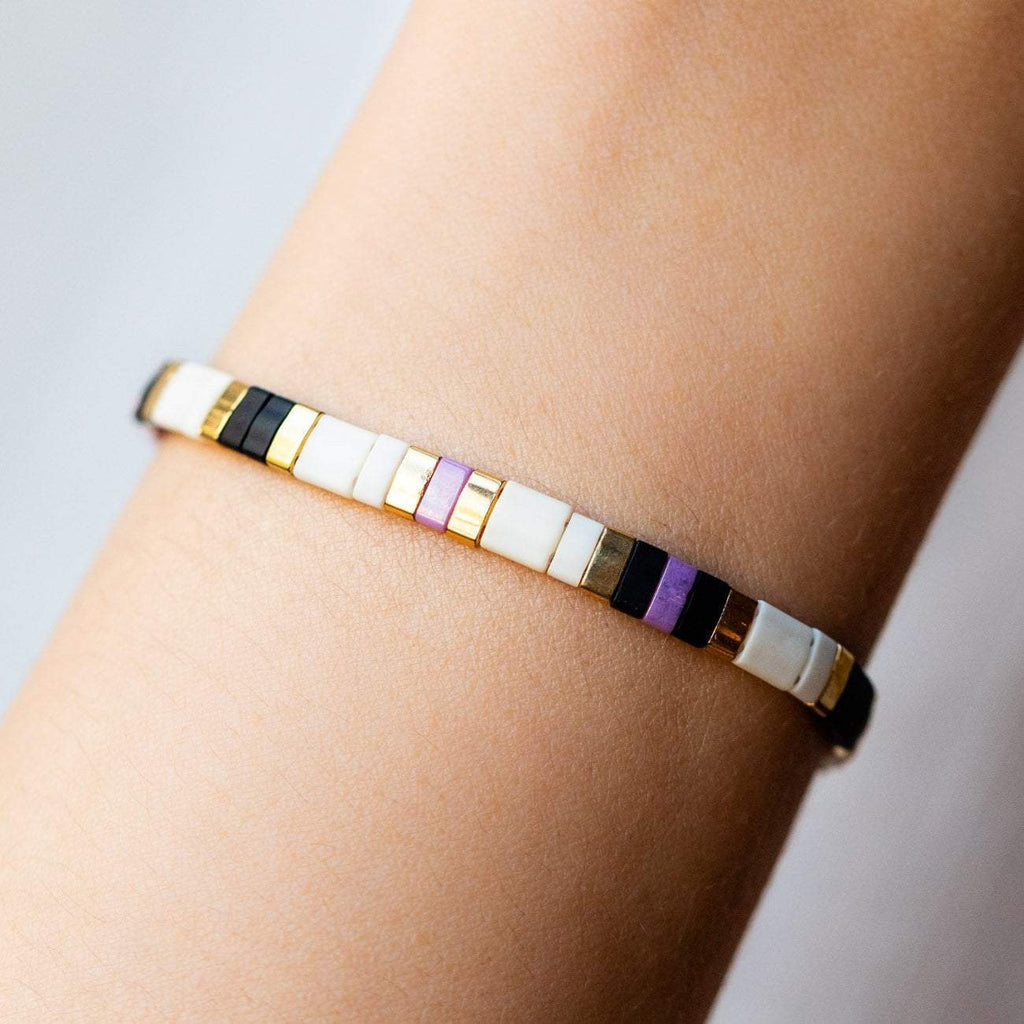Simple Minimal Beaded Bracelet Purple Black White Shashi Elastic