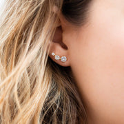 Stud Ear Tapering Climber Round CZ Shashi Yellow Gold