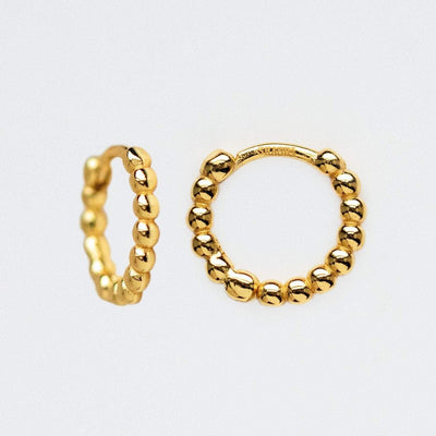 Pebble Beaded Small Huggie Hoop Earrings Yellow Gold Shashi