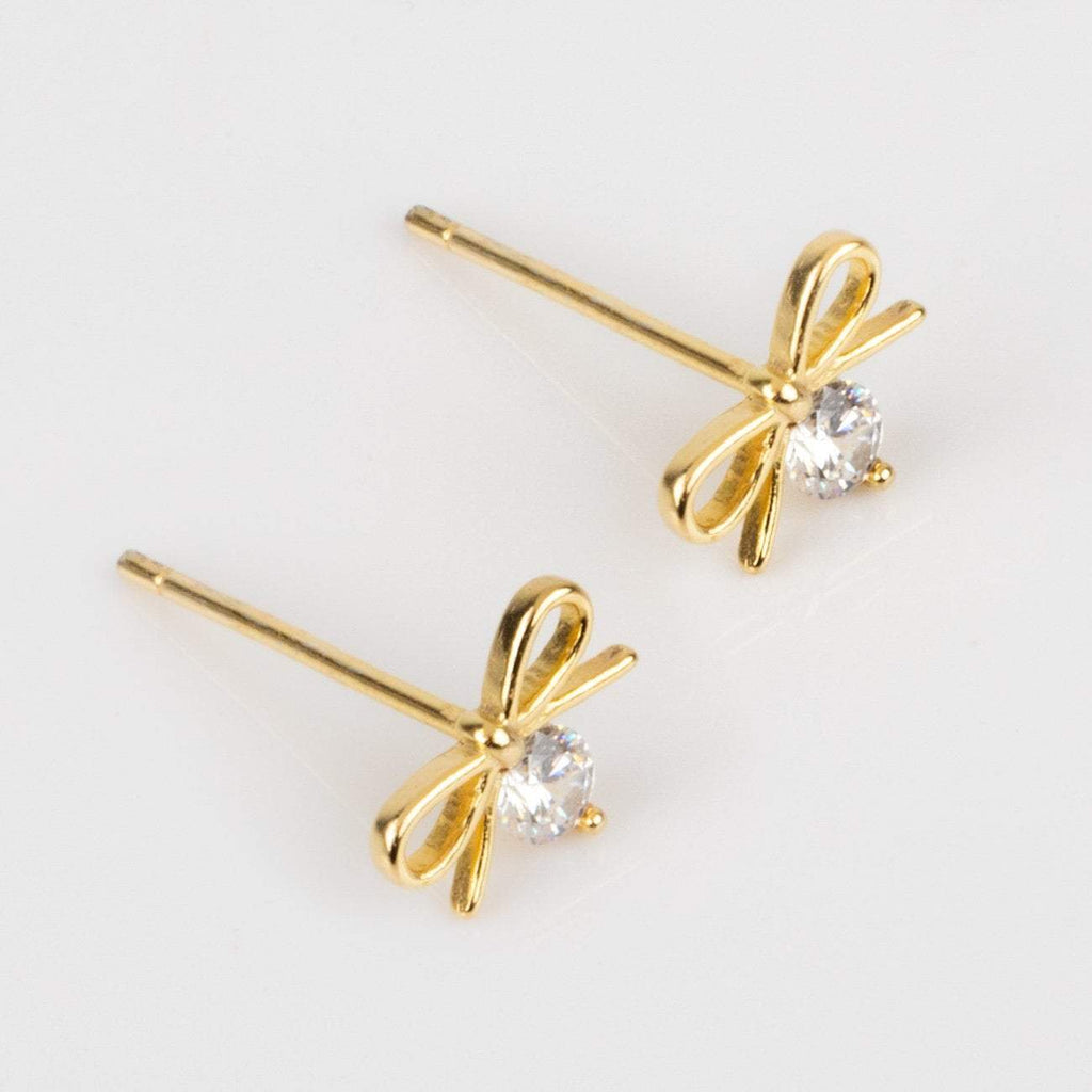 Petite Bow Stud Earrings Minimal Dainty CZ Shashi Yellow Gold
