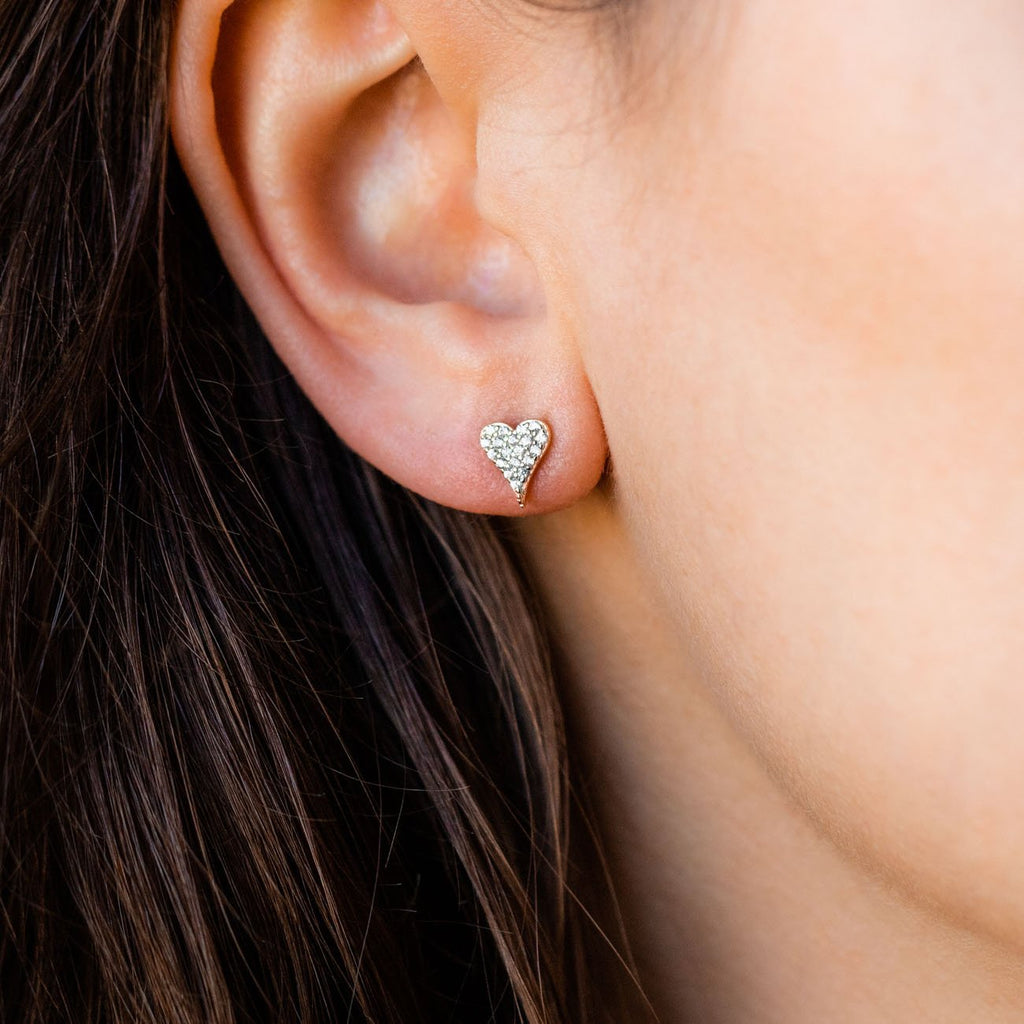 Small Heart Stud Earrings CZ Dainty Jewelry Yellow Gold Shashi