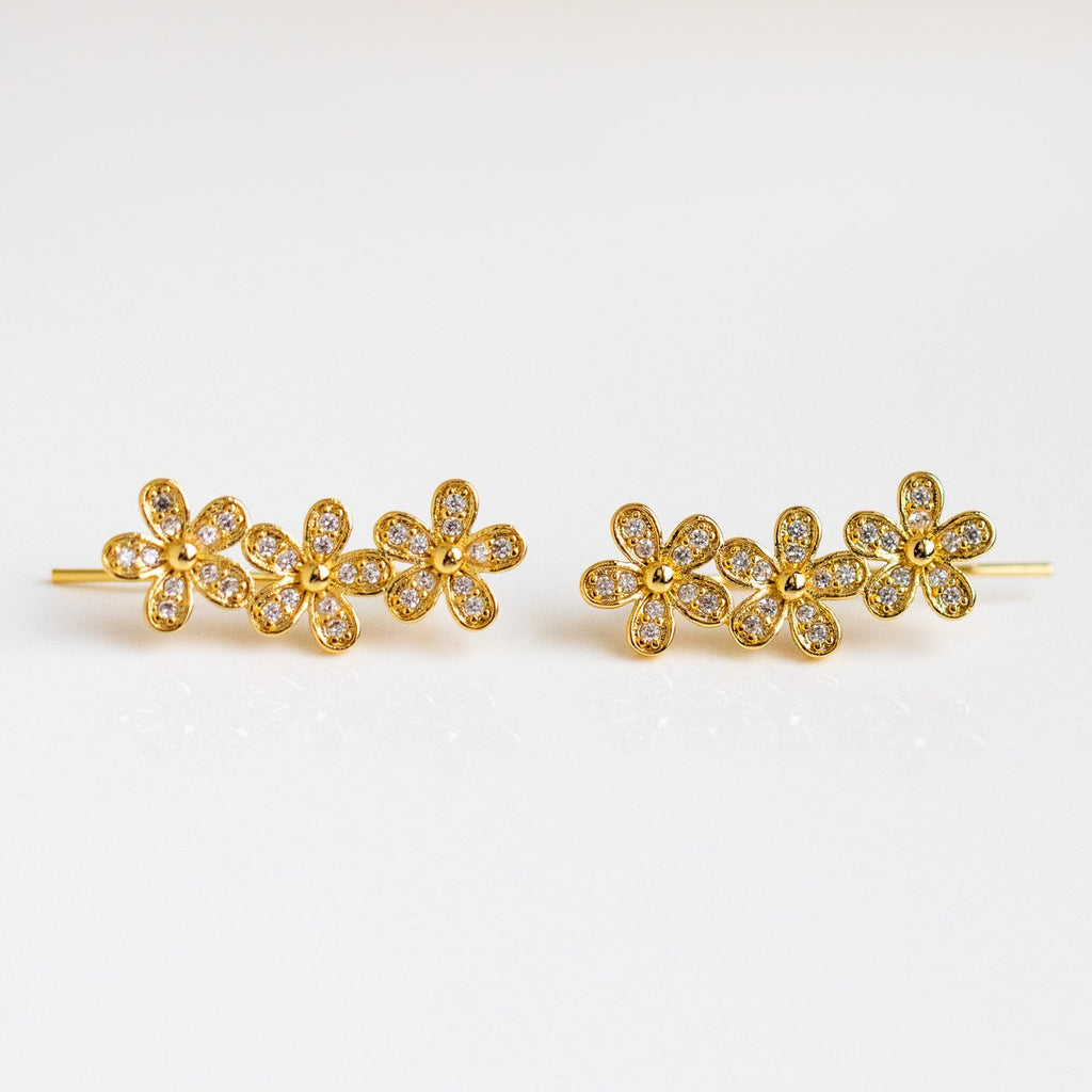 Fluer Ear Climbers Delicate Yellow Gold Petals Statement Earrings Shashi