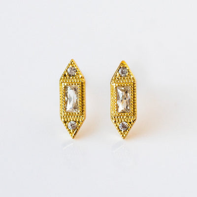 Baguette CZ Stud Earrings Delicate Dainty Yellow Gold Shashi