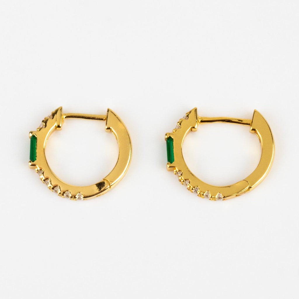 Baguette Cut Green Emerald CZ Yellow Gold Small Hoop Huggie Earrings