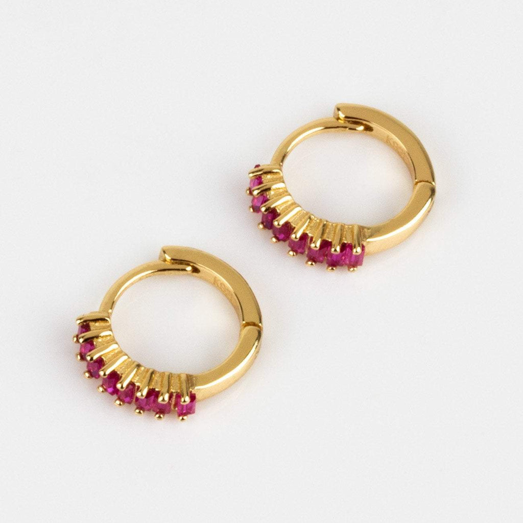 Small Hoop Huggie Earring Ruby Red Crystal Baguettes Dainty Shashi