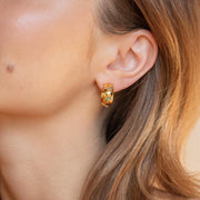 Eve Earrings unique yellow gold opal chunky modern celestial inspired jewelry