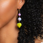 Marble Love Earrings unique colorful modern heart beaded jewelry