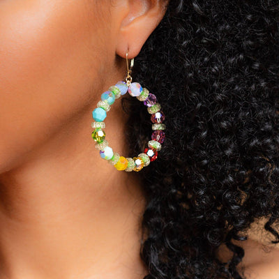Dollywood Hoop Earrings unique beaded colorful statement hoop dangle earrings