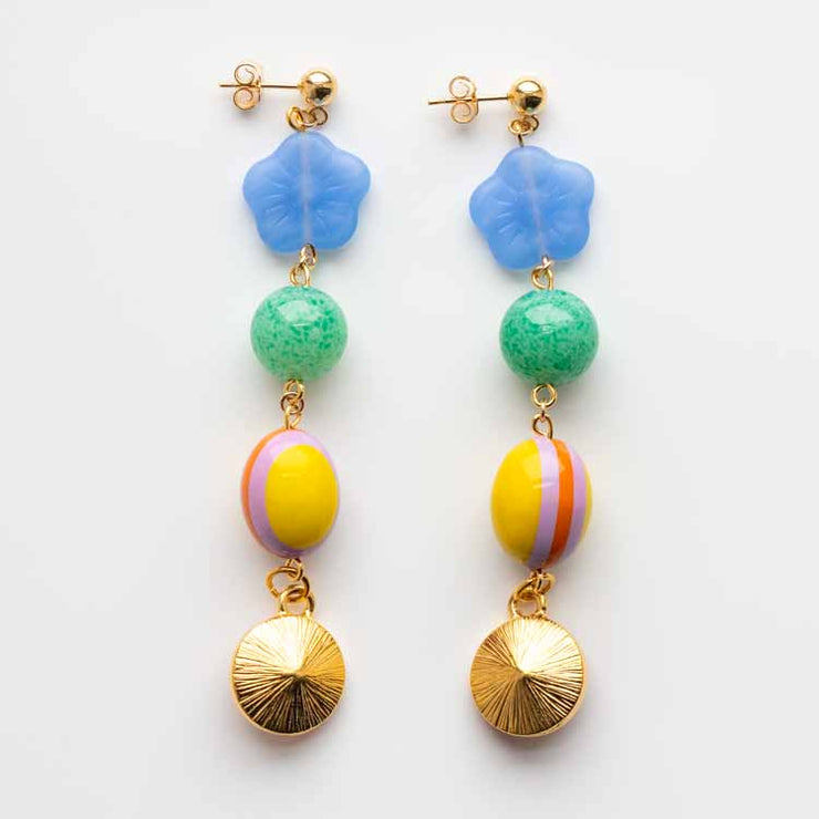 Hyacinth Drop Earrings handmade beaded vintage statement sjo jewelry