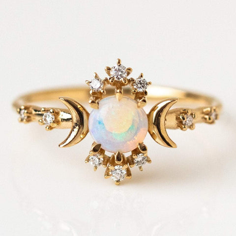 Solid Yellow Gold Opal Diamond Celestial Crescent Moon Ring Sofia Zakia