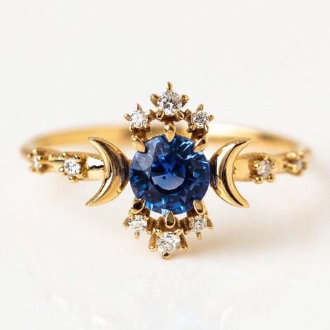 Blue Sapphire Crescent Moon Solid Yellow Gold Diamond Ring Sofia Zakia
