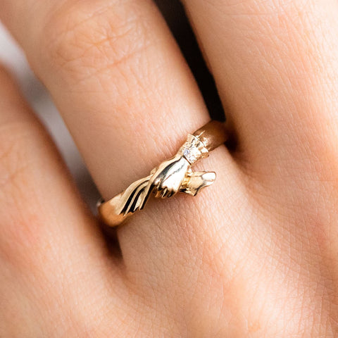 Solid Yellow Gold Hand Diamond Love Ring Sofia Zakia