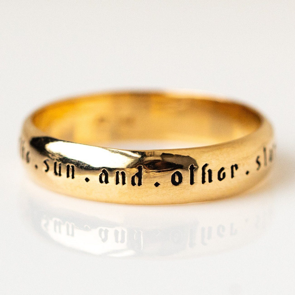 Solid Yellow Gold Band Ring Sofia Zakia Quote Celestial