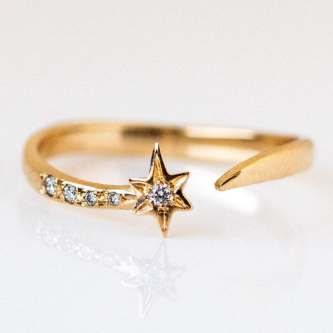 Solid Yellow Gold Star Diamond Celestial Ring Open Band Sofia Zakia