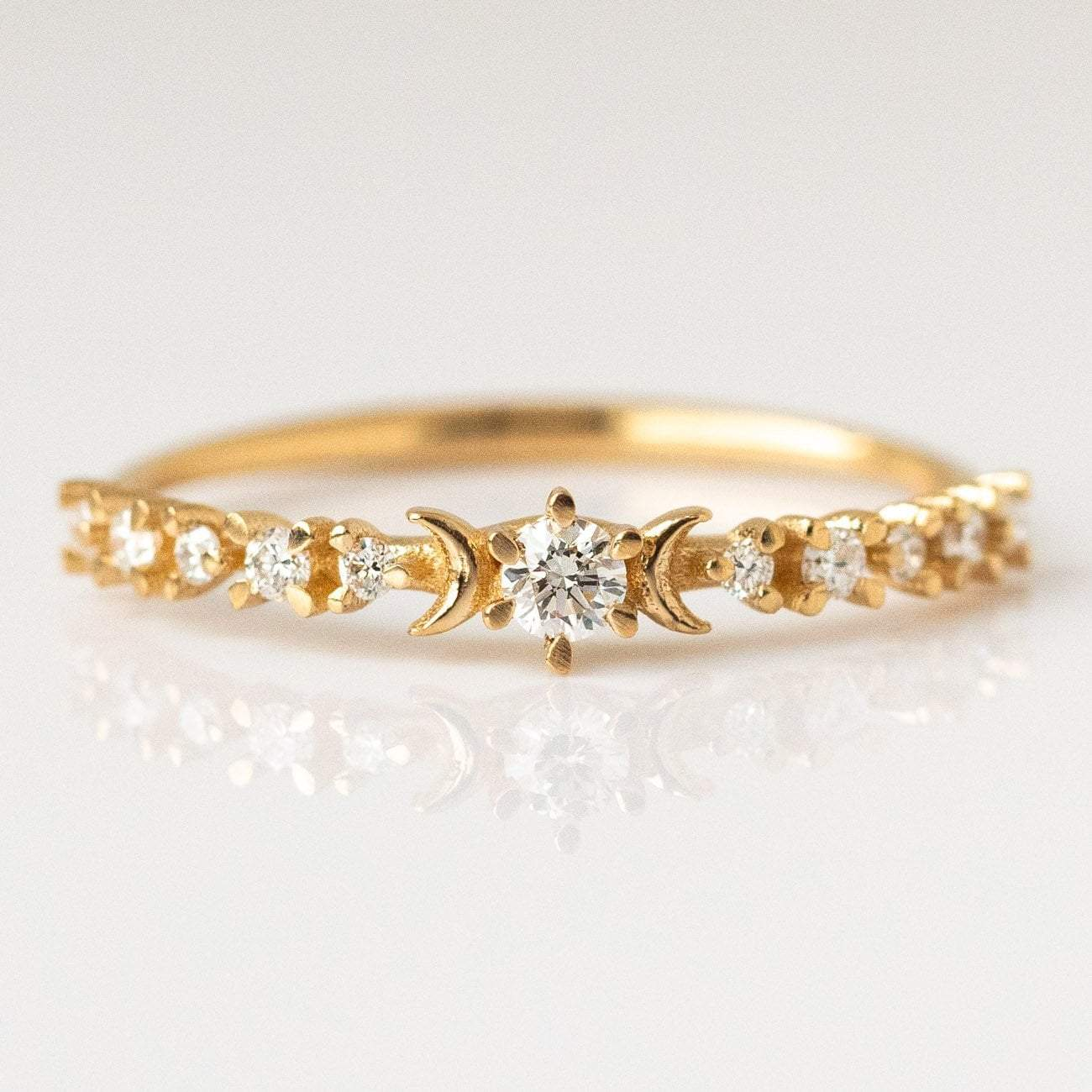 06bad38037a Diamond Stardust and Crescent Moon Ring