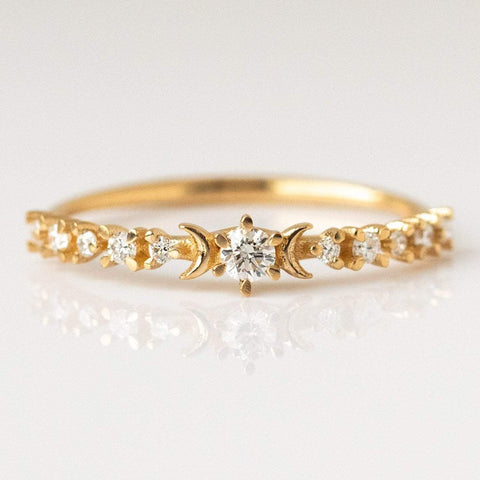 Diamond Stardust and Crescent Moon Ring dainty yellow solid gold fine jewelry