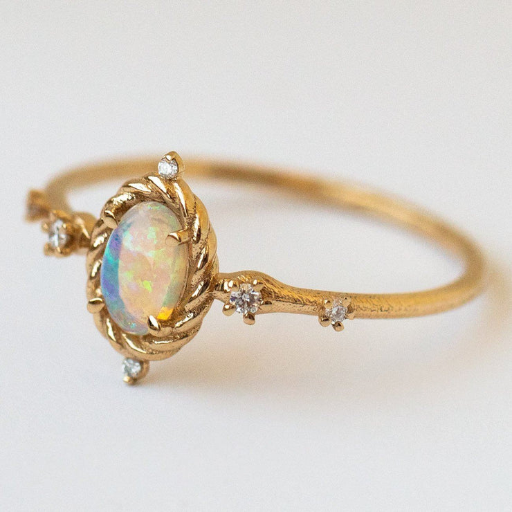 luminary ring with opal solid gold fine yellow gold jewelry