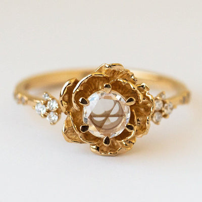 rosecut diamond paeonia ring yellow gold fine modern statement solid jewelry