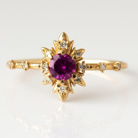 Rhodolite Termina Ring with Diamonds