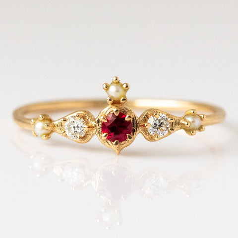 Shalimar Ring with Ruby and Diamonds