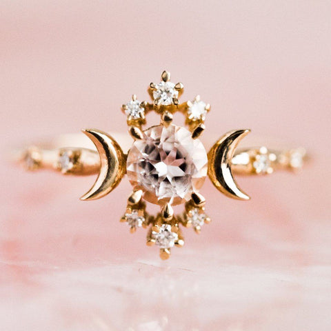 Wandering Star Ring with Pink Morganite - rings - Sofia Zakia local eclectic