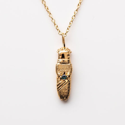 Solid Yellow Gold Worry Doll Pendant Necklace Sofia Zakia
