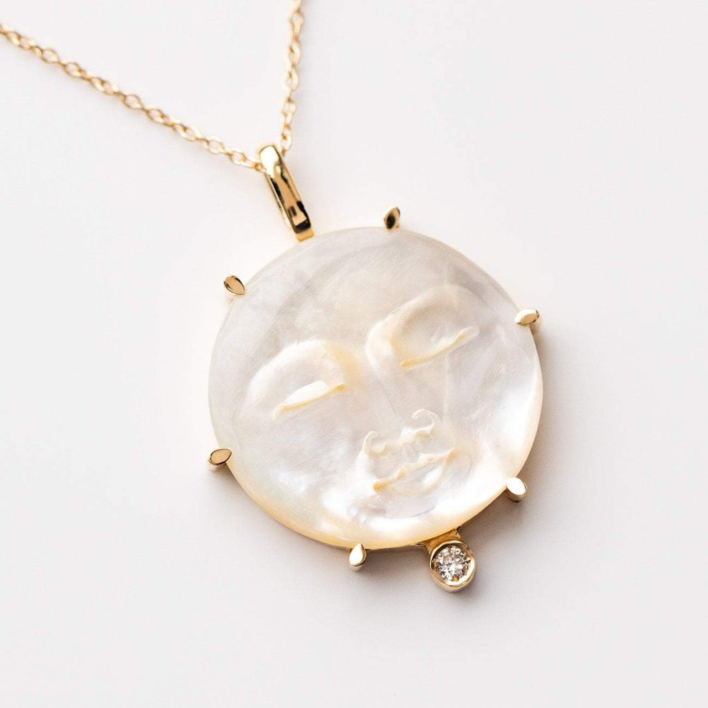 Mother of Pearl Moon Diamond Face Necklace Pendant Sofia Zakia