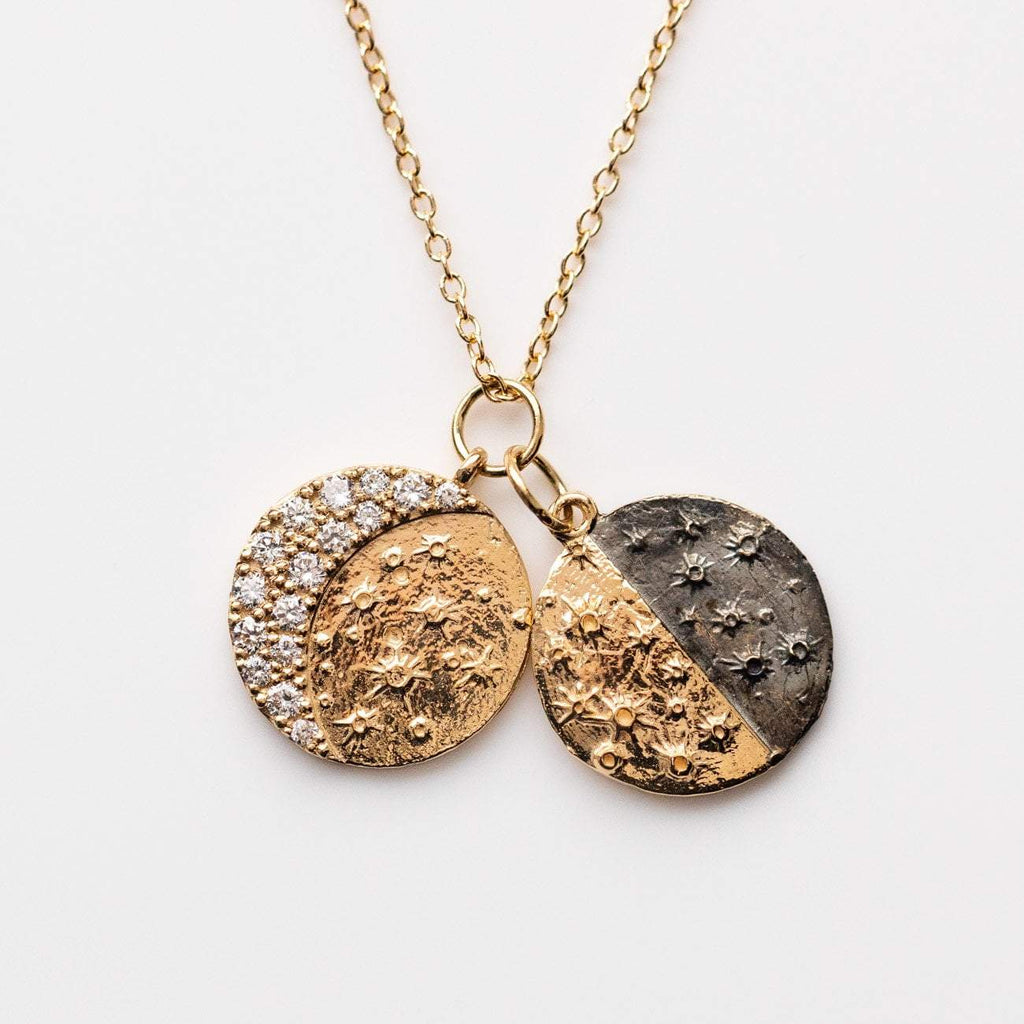 Lunar Phase Necklace Pendant Diamond Charm Necklace Solid Gold Sofia Zakia