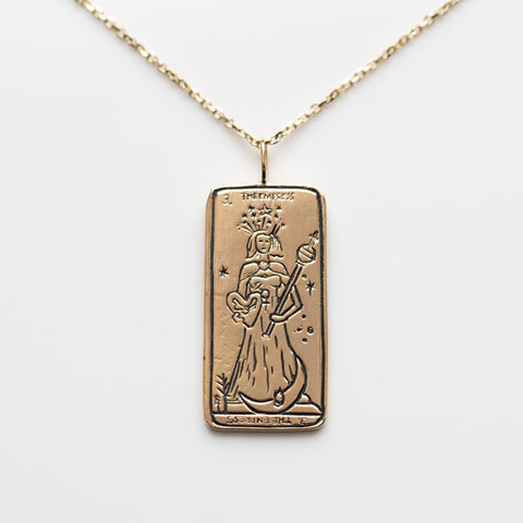 Solid Gold Necklace Pendant Empress Tarot Card Sofia Zakia