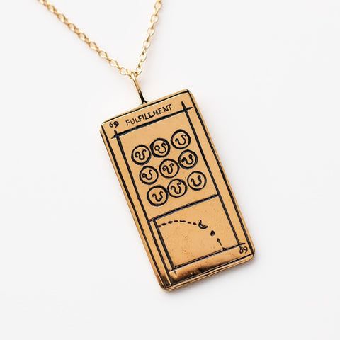 Solid Yellow Gold Fulfillment Tarot Card Necklace Pendant Sofia Zakia