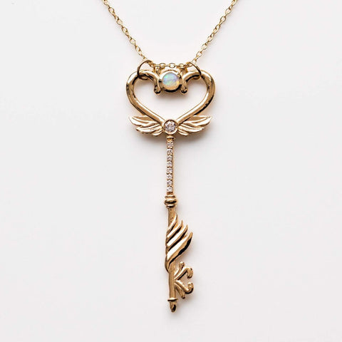 Solid Yellow Gold Heart Skeleton Key Necklace Pendant Diamond Opal Sofia Zakia
