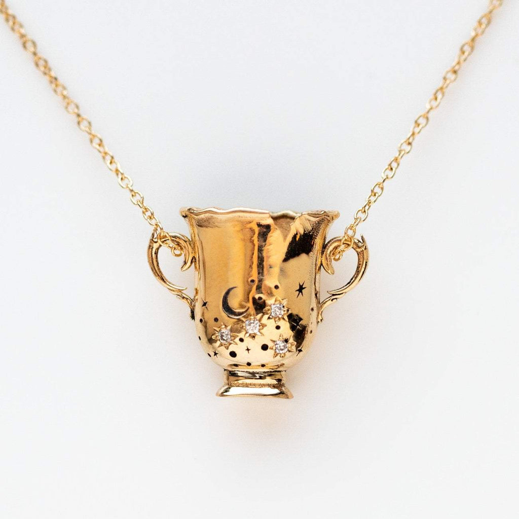 solid yellow gold cup of stars hand-made celestial diamond sofia zakia necklace