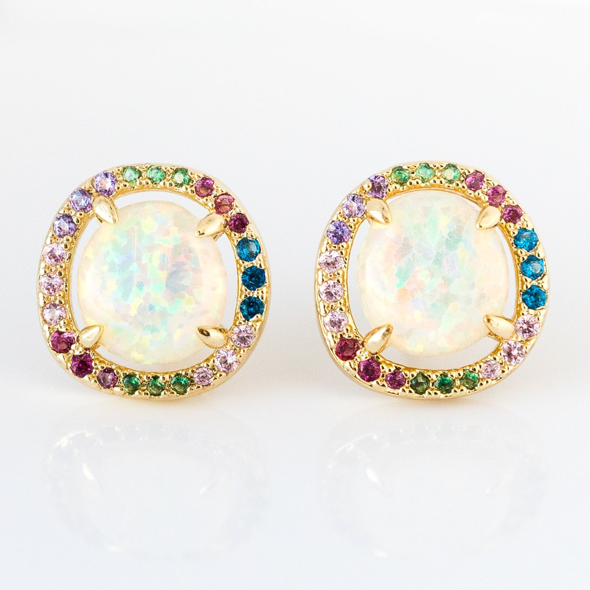 676e94ca5 Sarah Louise Studs in White Opal and Rainbow CZ - earrings - Melinda Maria  local eclectic