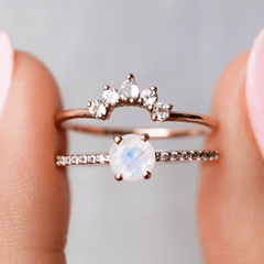 Rose Gold Rainbow Moonstone & Topaz Dancing Fairy Ring Stack