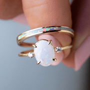 White Opal Inlay Ring in Gold rings Amarilo Jewelry