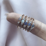 Opal & Diamond Triple Stone Stacking Ring - rings - Carrie Elizabeth Jewelry local eclectic