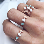 Opal, Rose Quartz & Green Quartz Trinity Ring - rings - Girls Crew local eclectic