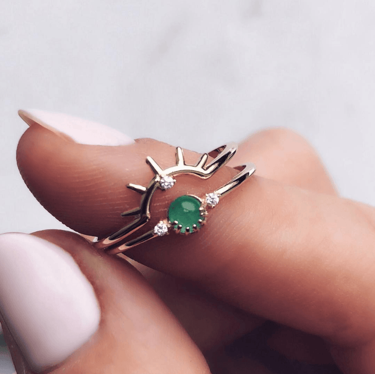 Emerald Rising Sun Stacking Ring Set - rings - Merewif local eclectic