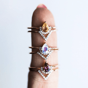 Pink Tourmaline & Diamond Angel Stacking Set - rings - Carrie Elizabeth Jewelry local eclectic
