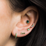 Emerald Green Climbers with Pave Edge - earrings - Tai Jewelry local eclectic