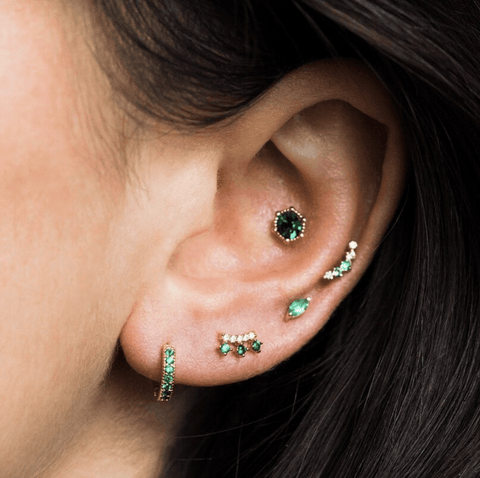 Astrid Stud Earrings in Emerald - earrings - Lover's Tempo local eclectic