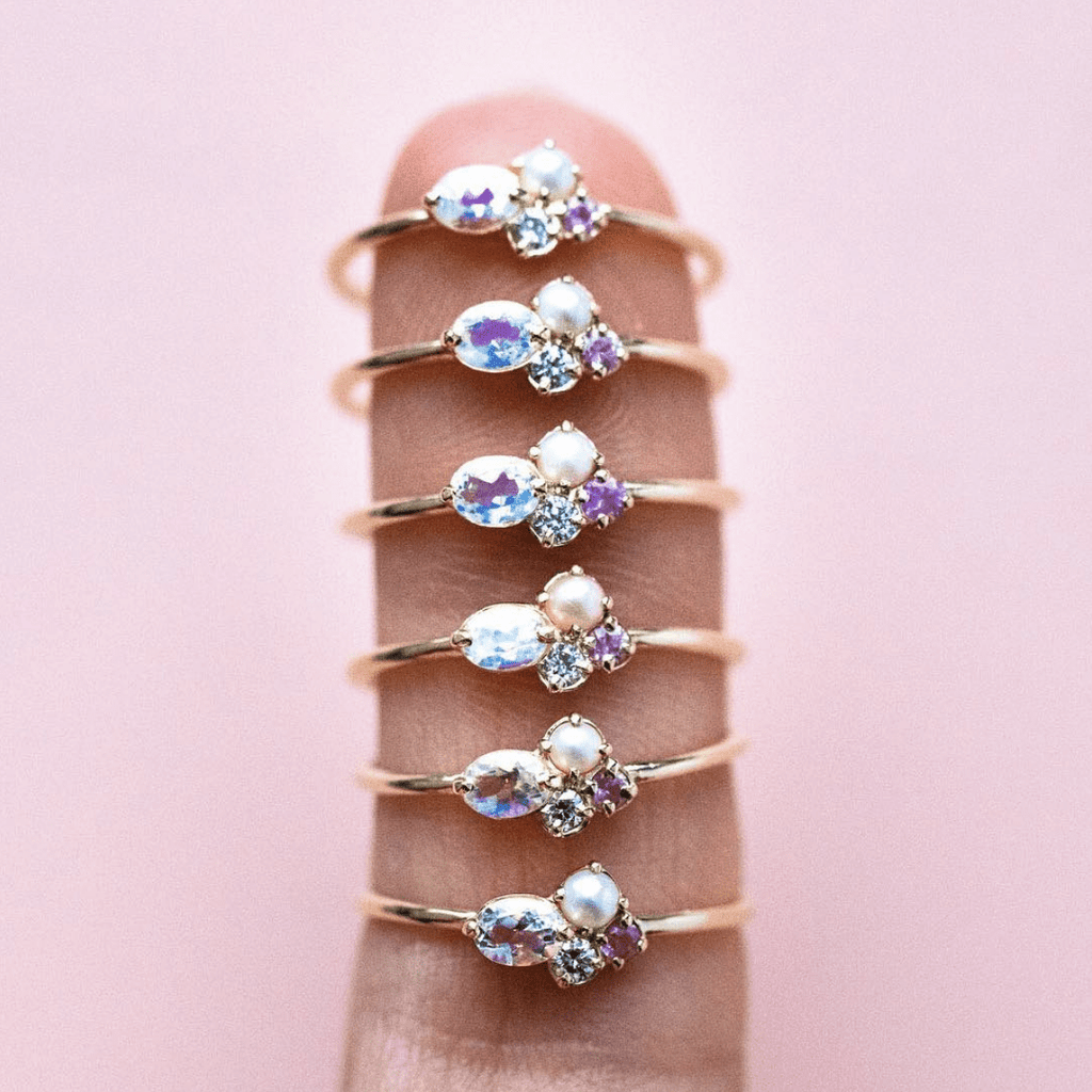 Mini Cluster Ring with Diamond, Moonstone, Sapphire & Pearl