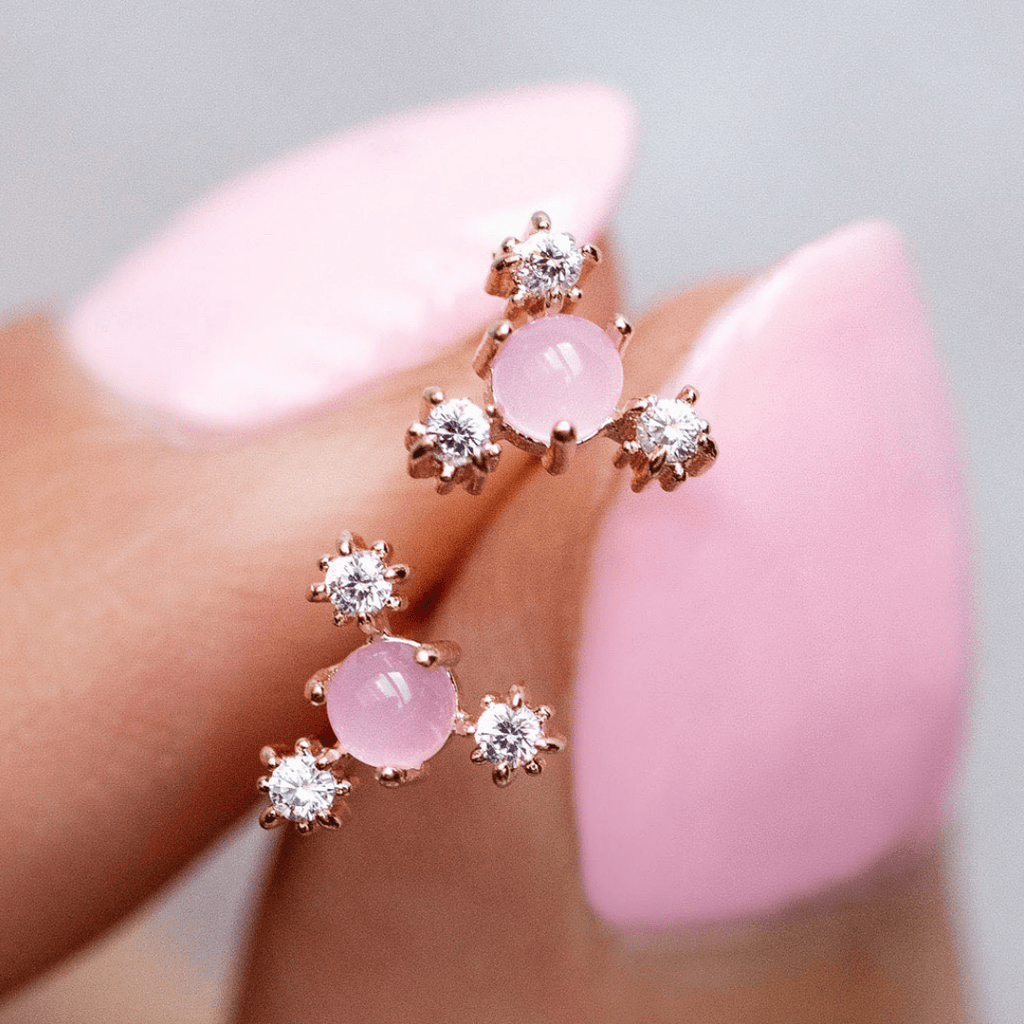 Baby's Breath Pink Flower Stud Earrings