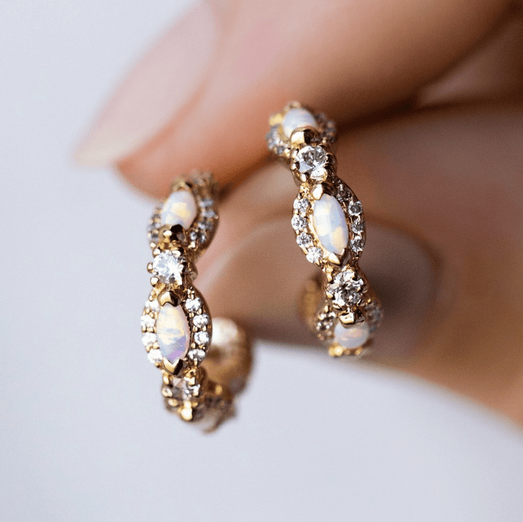 Mini Opal and Diamond Astor Hoops