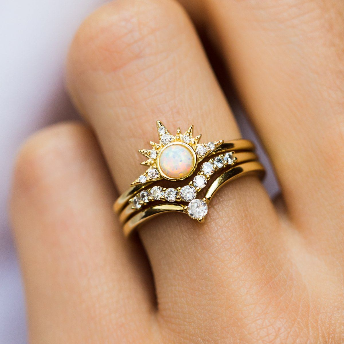 Starburst Stacking Ring Set In Gold With White Opal