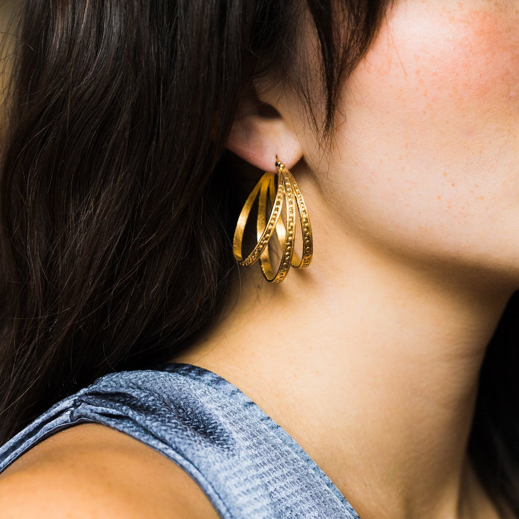 Melina Hoops in Gold - earrings - Temple of the Sun local eclectic