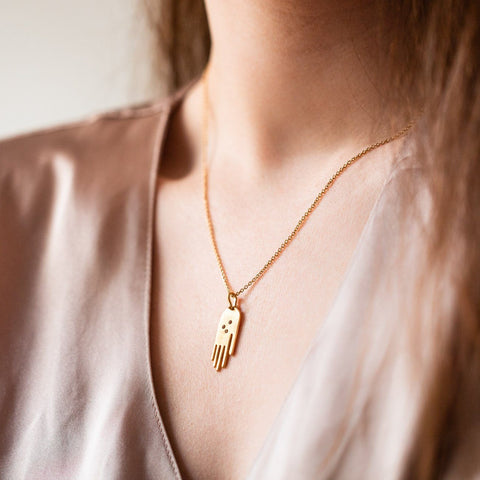 gold necklace pendant hand jewelry citrine stones